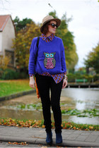 blue romwe sweater - bronze hat - deep purple romwe shirt