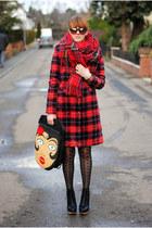 red coat - charcoal gray dress - brick red sunglasses