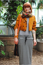 orange Secondhand jacket - silver skirt