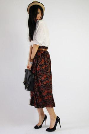 tan korea hat - white dads shirt - black Bonia bag - brick red vintage floral sk