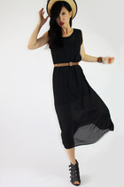 black sheer midi dress - vintage hat - dark brown thirsted belt - black Aldo hee