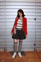 asos skirt - asos socks - asos sneakers - dark red knit H&M cardigan