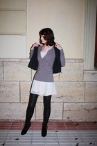 H&M dress - asos boots - lacy shrug asos jacket - Zara sweater - H&M tights