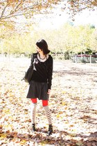striped sweater H&M sweater - red ankle boots asos boots