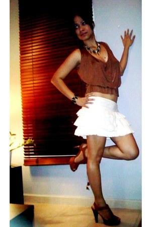 Miss Selfridge skirt - Gucci top - Kenneth Cole sandals