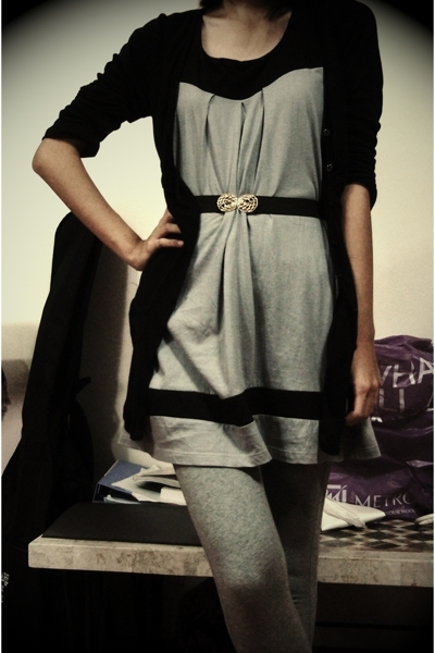 cotton on jacket - dress - belt - Zara leggings