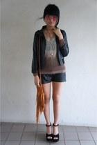black leather jacket thrifted jacket - eggshell Oakham Market sweater