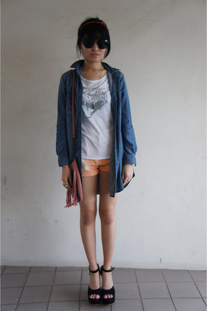light orange thrifted shorts - blue denim jacket thrifted jacket