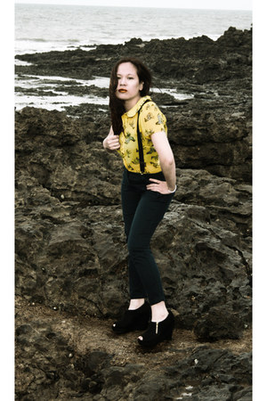 zebra print Henry Holland blouse - black Claires belt - navy Zara pants
