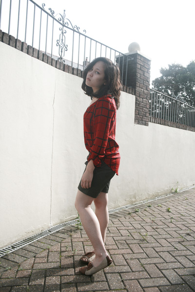 unknown shorts - red checker next blouse