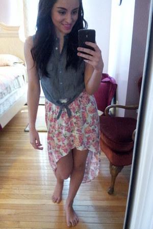 hi low floral PacSun skirt - Pay half blouse