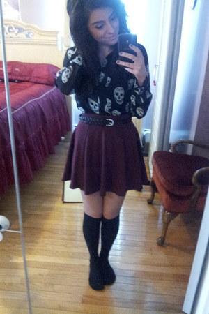 skull print Pay half blouse - skater skirt H&M skirt - knee high H&M stockings