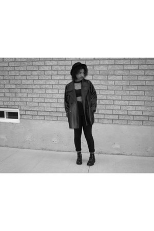 black coat - black leather coat - wool Forever 21 hat