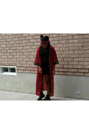 black leather vintage boots - black mesh shirt - maroon scarf - maroon cape
