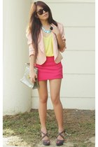 peach random blazer - yellow Forever21 blouse