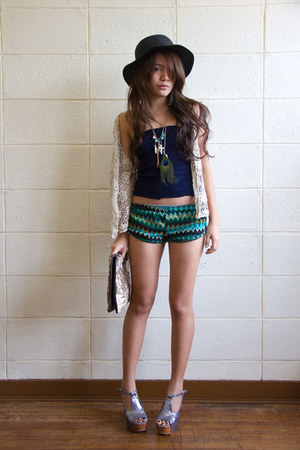 teal banana republic shorts - gray Fivebyfive heels