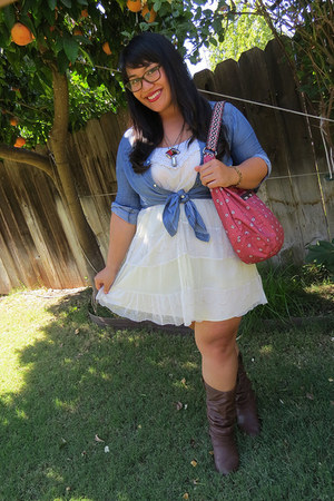 coral LeSportSac bag - dark brown charles albert boots - white xhilaration dress