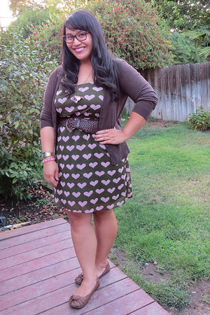 brown Blowfish flats - olive green Xhileration dress - gold timex watch