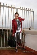 Balmain jacket - Balmain leggings - YSL bag - rupert sanderson heels - Balmain t