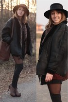 vintage coat - vintage hat - vintage scarf - Timberland bag