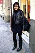 Bershka dress - Mustang boots - D&G accessories