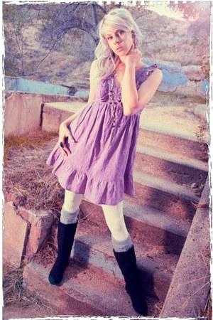 amethyst BeBop dress - black boots - ivory stockings
