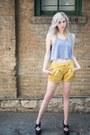 Mustard-darted-forever-21-shorts-black-platform-forever-21-heels