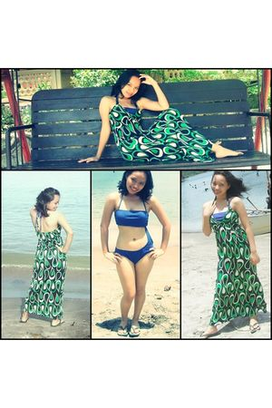 green dress - blue NafNaf swimwear
