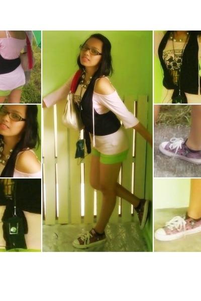 pink VonDutch shirt - green Next Jeans shorts - pink Converse shoes - beige Vict