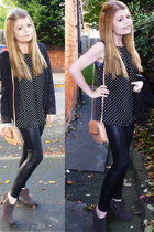 new look blouse - Topshop leggings - H&M blazer - Topshop bag - dune heels