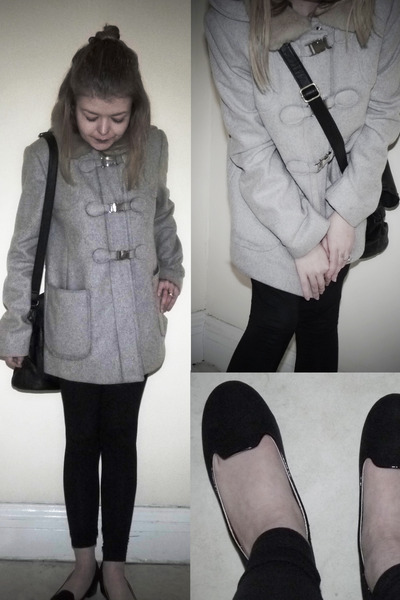 heather gray Topshop coat - black Topshop leggings - black George Asda bag