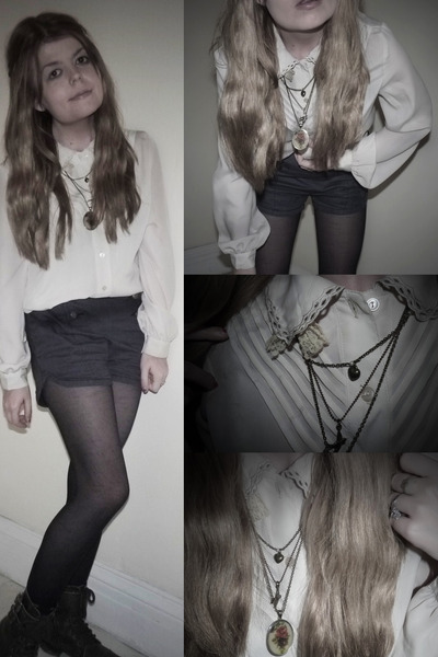 ivory Urban Outfitters blouse - dark brown River Island boots