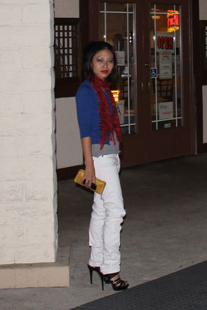 white H&M jeans - black shoes - gold Target wallet - red Macys scarf - blue card