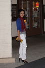 White-h-m-jeans-black-shoes-gold-target-wallet-red-macys-scarf-blue-card