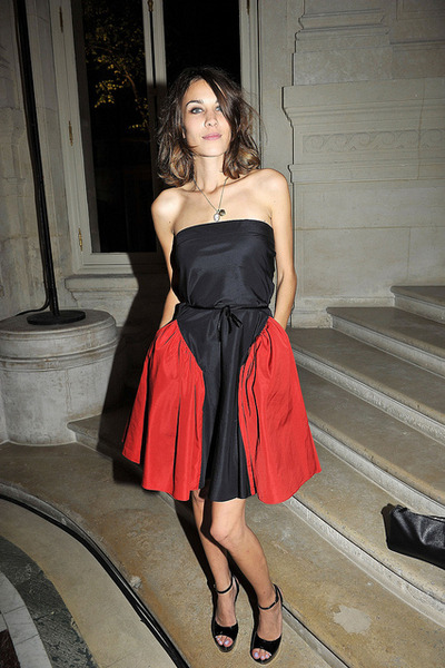 ruby red Yves Saint Laurent dress - black sandals