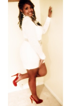 brick red five inch Charlotte Russe heels - white tight DIY dress