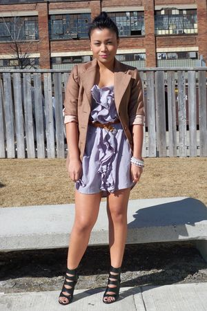 purple Zara dress - beige vintage blazer - brown vintage belt - black Aldo shoes