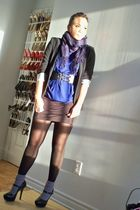 purple Ardene scarf - black Urban Planet blazer - blue People are People shirt -