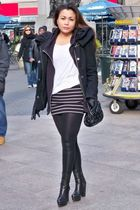 black Zara coat - white Sirens t-shirt - black Forever 21 skirt - black Zara leg