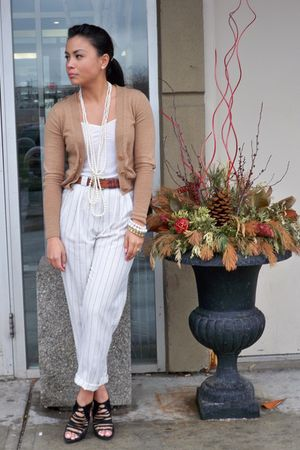 brown Club Monaco cardigan - white H&M top - white vintage pants - brown vintage