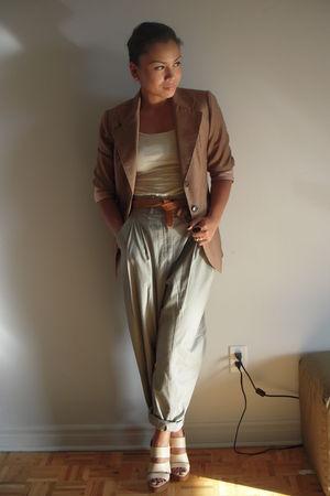 white Forever 21 top - beige vintage blazer - green H&M pants - beige Aldo shoes