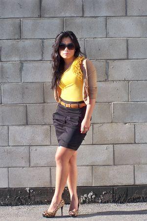 beige Club Monaco cardigan - gold Forever 21 top - black H&M skirt - brown Zara