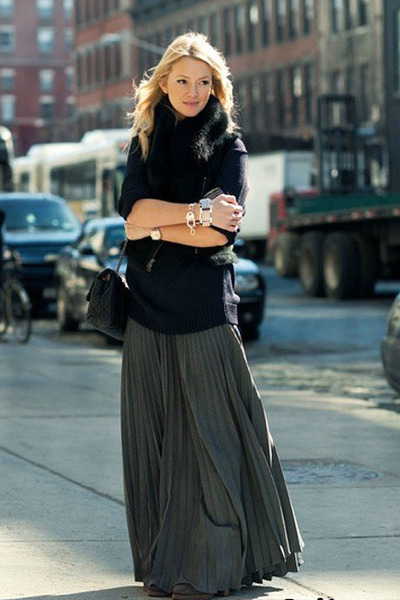 gray pleated maxi unknown skirt