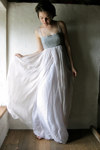 off white hand sewn silk Larimeloom dress