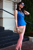 blue peplum top Zara shirt - salmon DL 1961 jeans