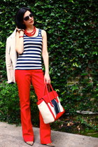 red tote bag Jcrew bag - navy striped tank Forever 21 shirt