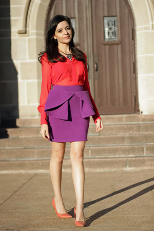 red BCBG blouse - magenta pleated skirt asos skirt