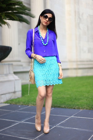 lace skirt Zara skirt - purple blouse JCrew blouse