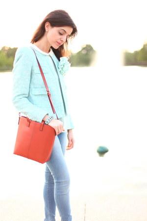 burnt orange satchel Zara bag - light blue mint blazer Zara blazer