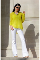 white wide leg jeans jeans - lime green chiffon blouse BCBG blouse